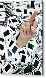 Too Many Slides - Hand Giving The Middle Finger Acrylic Print by Matthias Hauser