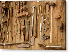 Tools Mounted On Wooden Wall Acrylic Print