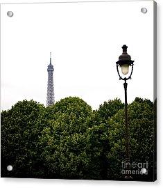 Top Of The Eiffel Tower And Street Lamp. Paris.france. Acrylic Print by Bernard Jaubert