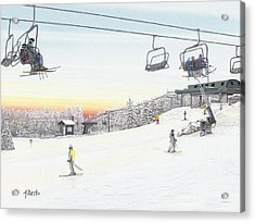 Acrylic Print featuring the painting Top Of The Mountain At Seven Springs by Albert Puskaric