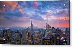 Top Of The Rock Acrylic Print by Michael Zheng