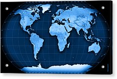 Topographic World Map Kavraisky Vii Projection Acrylic Print by Frank Ramspott