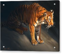 Acrylic Print featuring the digital art Torch Tiger 1 by Aaron Blaise