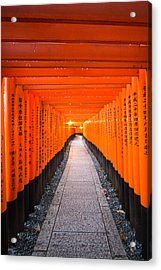 Torii Gate Tunnel In Fushimi Inari Shrine Acrylic Print by Laura Palmer