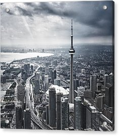 Toronto Aerial View During A Storm Acrylic Print by Franckreporter