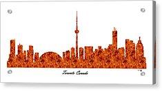 Toronto Canada Raging Fire Skyline Acrylic Print