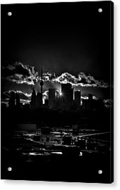 Toronto Canada Skyline At Sunset From The Pape St Bridge Acrylic Print by Brian Carson