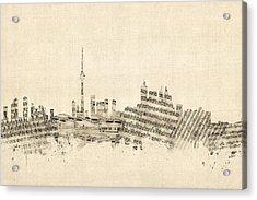 Toronto Canada Skyline Sheet Music Cityscape Acrylic Print by Michael Tompsett