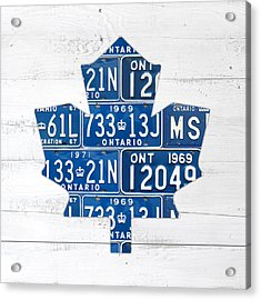 Toronto Maple Leafs Hockey Team Retro Logo Vintage Recycled Ontario Canada License Plate Art Acrylic Print by Design Turnpike