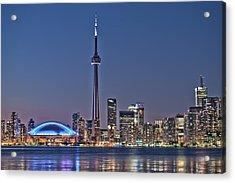 Toronto Night Skyline Cn Tower Downtown Skyscrapers Sunset Canada Acrylic Print