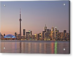 Toronto Night Skyline Tower Downtown Skyscrapers Sunset Canad Acrylic Print
