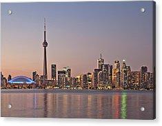 Toronto Night Skyline Tower Downtown Skyscrapers Sunset Canad Acrylic Print