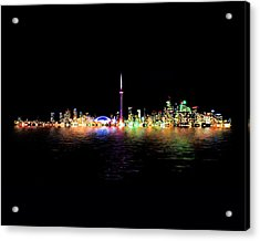 Toronto Skyline At Night From Centre Island Reflection Acrylic Print