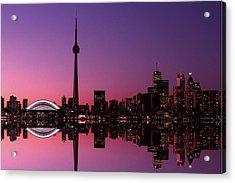 Toronto Skyline At Sunset, Toronto Acrylic Print by Alan Marsh