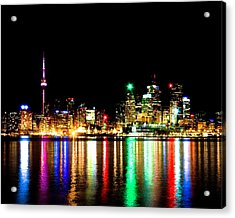 Acrylic Print featuring the photograph Toronto Skyline Night by Brian Carson