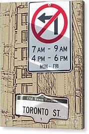 Toronto Street Sign Acrylic Print by Nina Silver