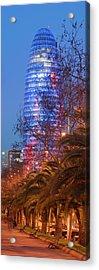 Torre Agbar At Dusk, Avinguda Diagonal Acrylic Print by Panoramic Images