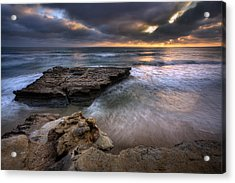 Torrey Pines Flat Rock Acrylic Print by Peter Tellone