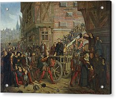 Torture Of Etienne Dolet 1509-46 Oil On Canvas Acrylic Print by Leon Charles Adrien Bailly