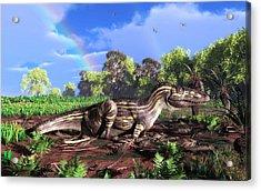 Torvosaurus And Rainbow Acrylic Print by Walter Myers