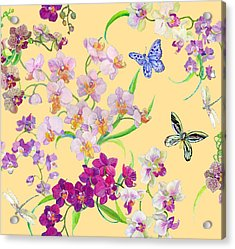 Tossed Orchids Acrylic Print by Kimberly McSparran