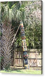 Totem Pole Acrylic Print by Paula Rountree Bischoff