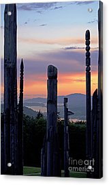 Acrylic Print featuring the photograph Totems Aglow by Maria Janicki
