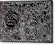 Jungle Scene With Toucan Black  Acrylic Print