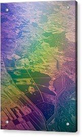 Touch Of Rainbow. Rainbow Earth Acrylic Print by Jenny Rainbow