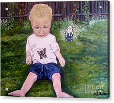 Acrylic Print featuring the painting Touched By A Butterfly Kiss by Kimberlee Baxter