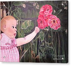 Acrylic Print featuring the painting Touched By The Roses Painting by Kimberlee Baxter