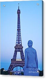 Tour Eiffel And Statue Acrylic Print