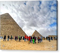 Tourism Fogh At Giza Pyramids  Acrylic Print