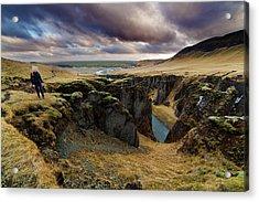 Tourist At Fjadrargljufur Canyon Acrylic Print by Anna Gorin