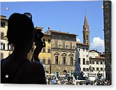 Tourist Taking Pictures Of Florence Acrylic Print by Sami Sarkis