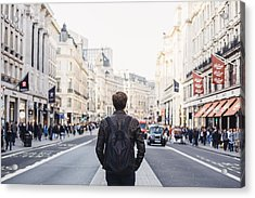 Tourist With Backpack Walking On Regent Street In London, Uk Acrylic Print by Alexander Spatari