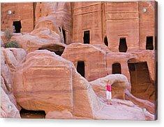 Tourist With Uneishu Tomb, Petra Acrylic Print