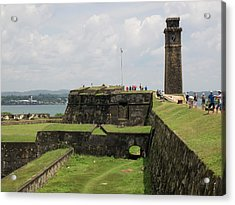 Tourists Along Rampart Of Galle Fort Acrylic Print by Panoramic Images