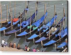 Tourists And Row Of Empty Moored Gondolas Acrylic Print