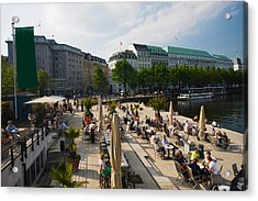 Tourists At A Sidewalk Cafe Acrylic Print by Panoramic Images