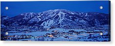 Tourists At A Ski Resort, Mt Werner Acrylic Print