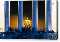 Tourists At Lincoln Memorial Acrylic Print by Panoramic Images