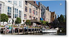 Tourists At The Canalside, Bruges, West Acrylic Print