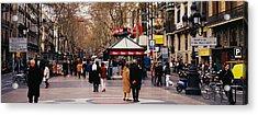 Tourists In A Street, Barcelona, Spain Acrylic Print