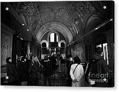 tourists inside the Gedenkhalle memorial hall of Kaiser Wilhelm Gednachtniskirche Acrylic Print by Joe Fox