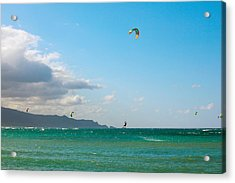 Tourists Kiteboarding In The Ocean Acrylic Print by Panoramic Images