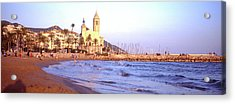 Tourists On Beach, Sitges, Barcelona Acrylic Print by Panoramic Images
