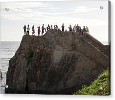 Tourists On Flag Rock Bastion, Part Acrylic Print by Panoramic Images