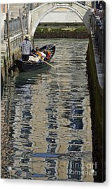 Tourists On Gondola On Canal Acrylic Print by Sami Sarkis