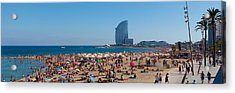 Tourists On The Beach With W Barcelona Acrylic Print by Panoramic Images